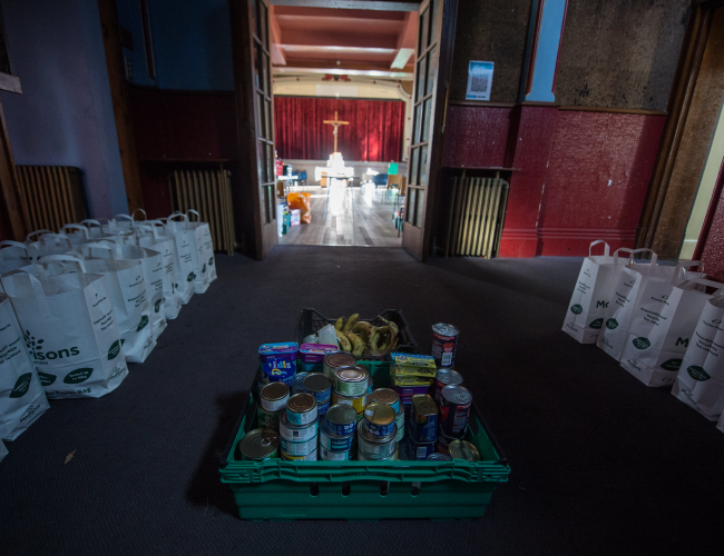 A food collection room within a church